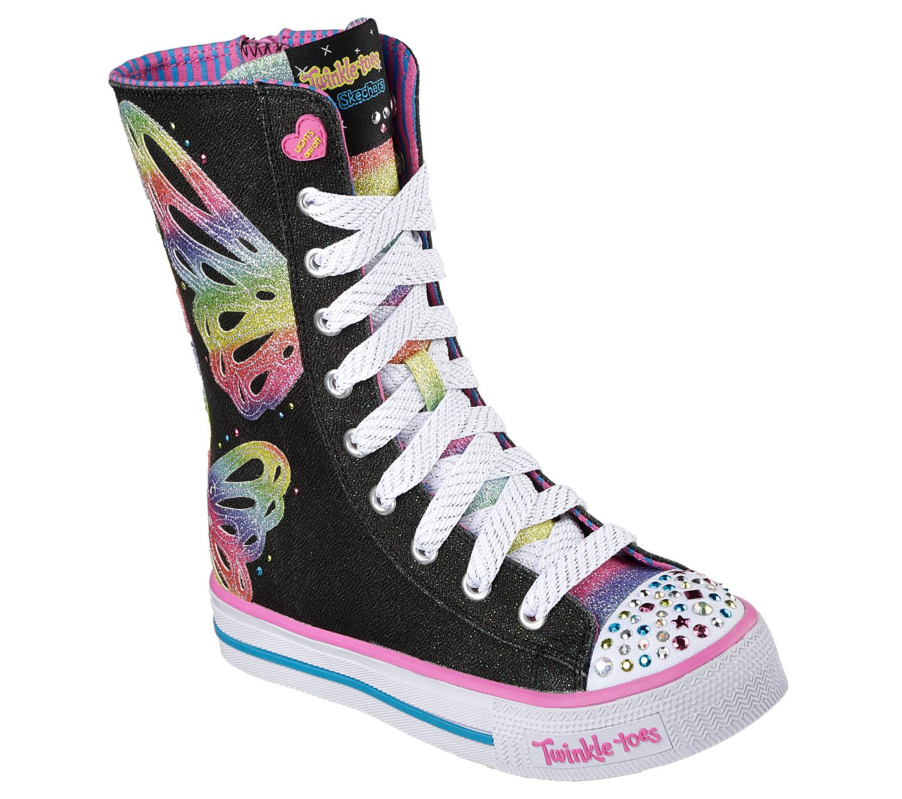 Buy SKECHERS Twinkle Toes: Shuffles Flutter Fun S Lights Shoes XOZOq