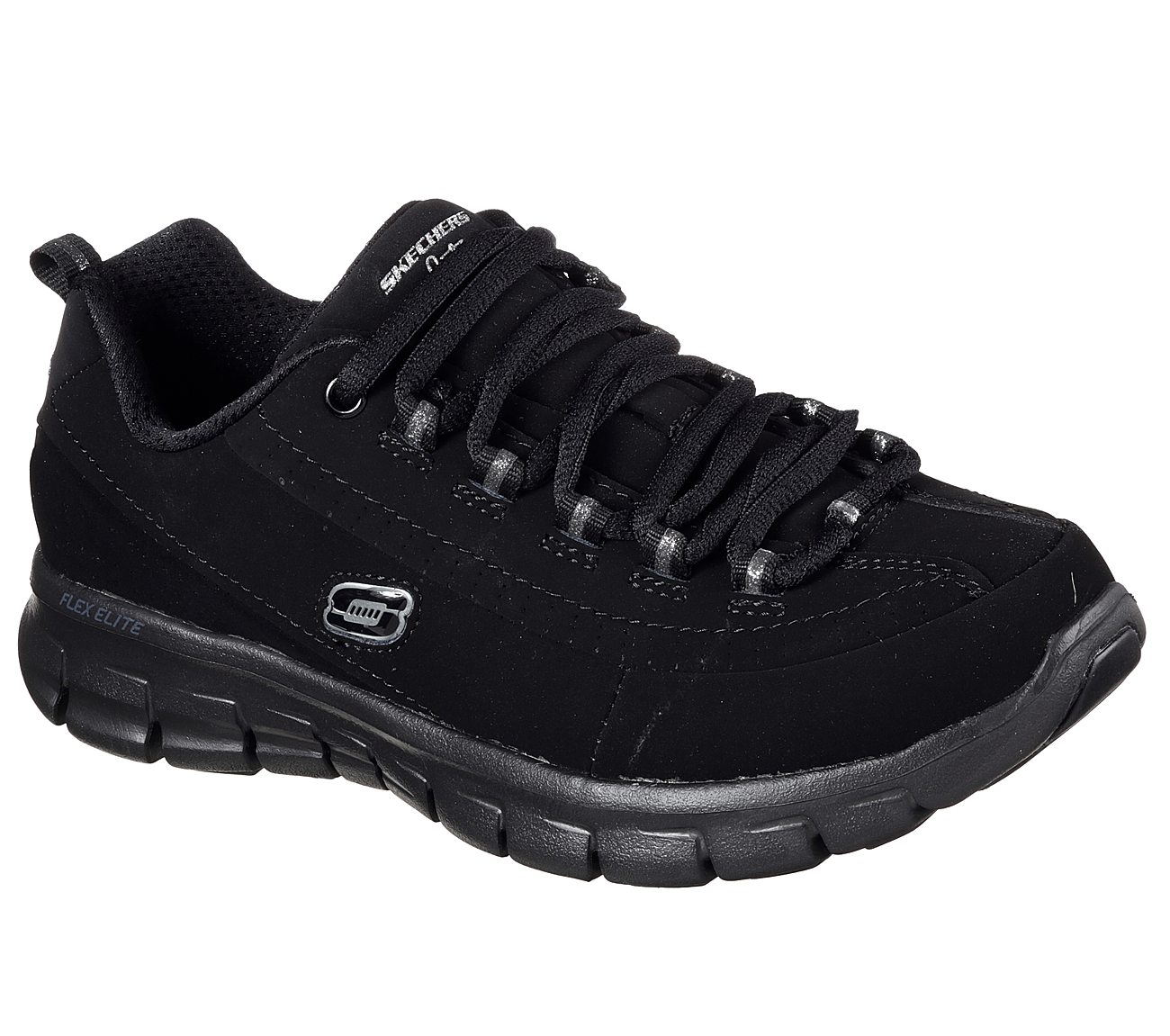 11717 EW Wide Fit Black Skechers shoes Women's Sporty Casual Memory Foam leather