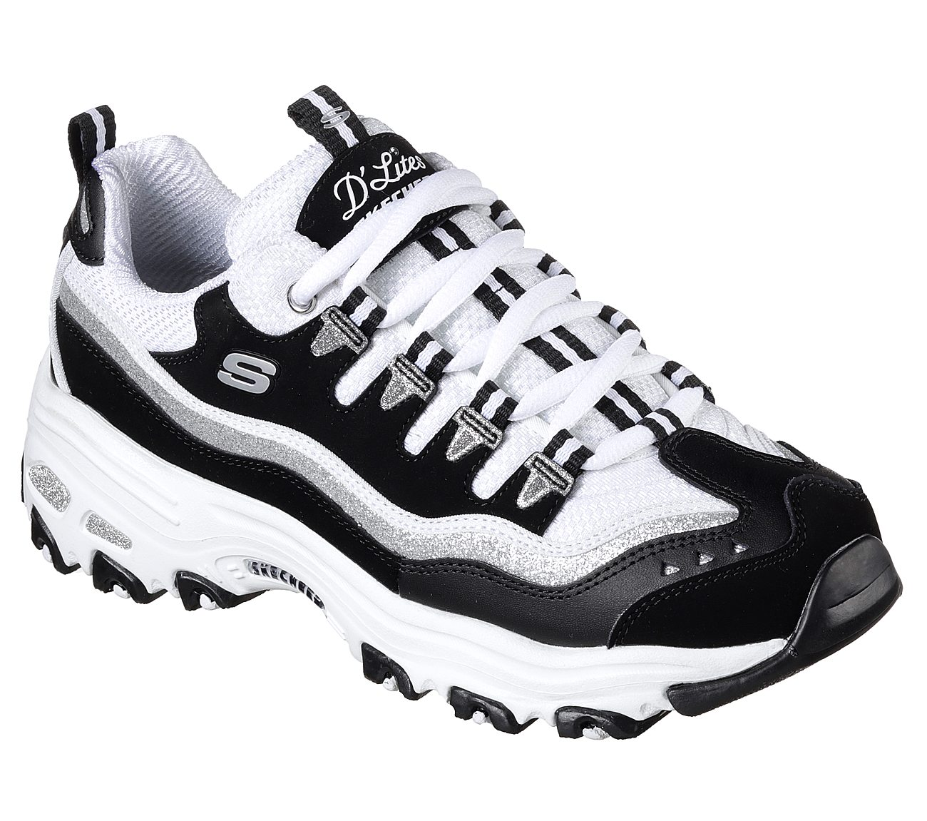 black and white skechers