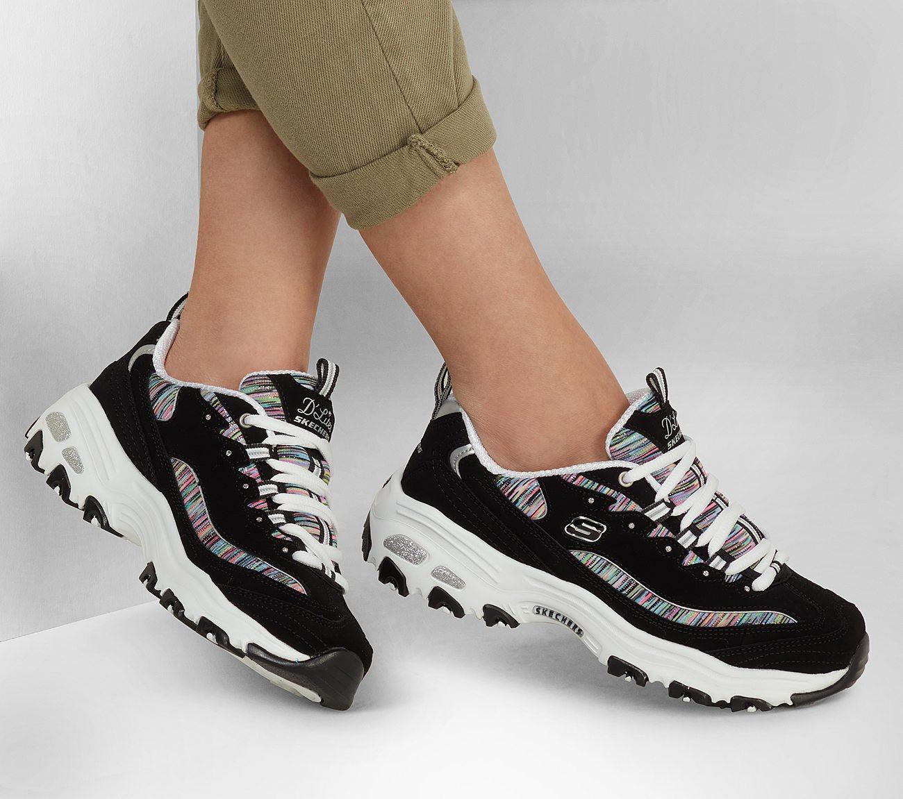 Black Multi Dlites Skechers Shoe Women Sporty Casual 11978 BKMT Memory Foam Soft