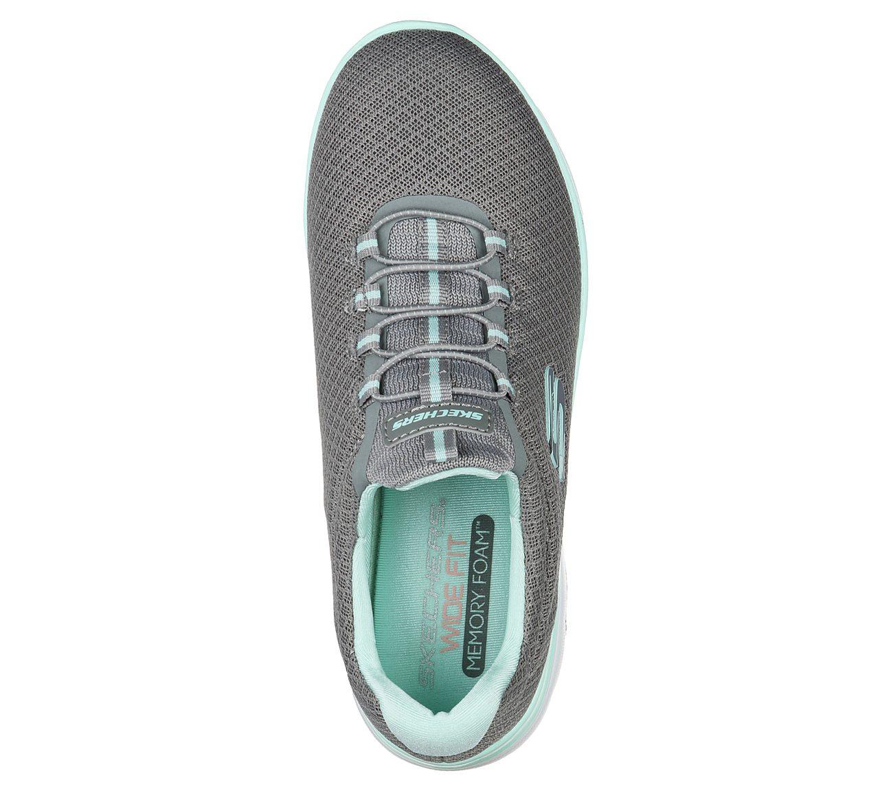 Women Skechers SUMMITS 12980NVAQ Navy Aqua Bungee Laced Slip On Sneaker Shoes eBay  eBay