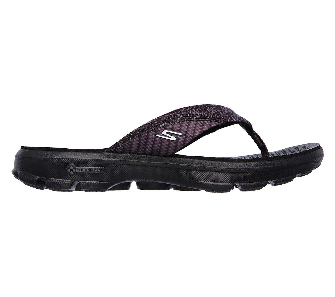 Schuhe : Schwarz (Bbk) Skechers Damen Go Walk Pizaz Sandalen