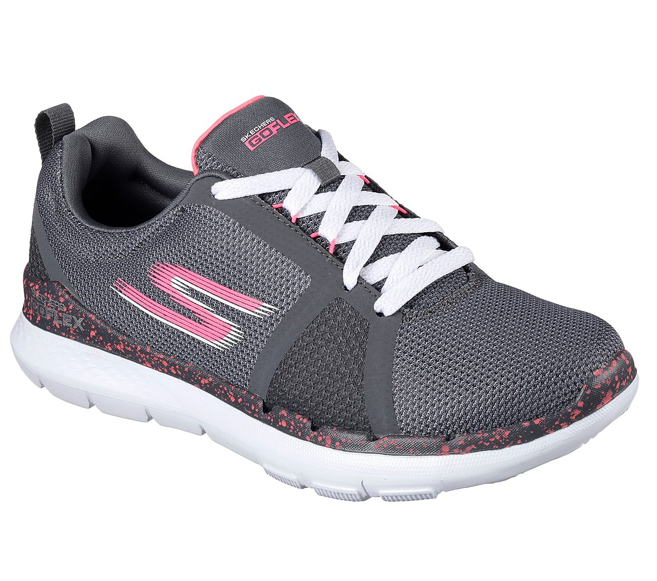Women Skechers GO FLEX TRAIN 14825CCHP Grey/Pink Lace-Up Athletic Walking Shoes
