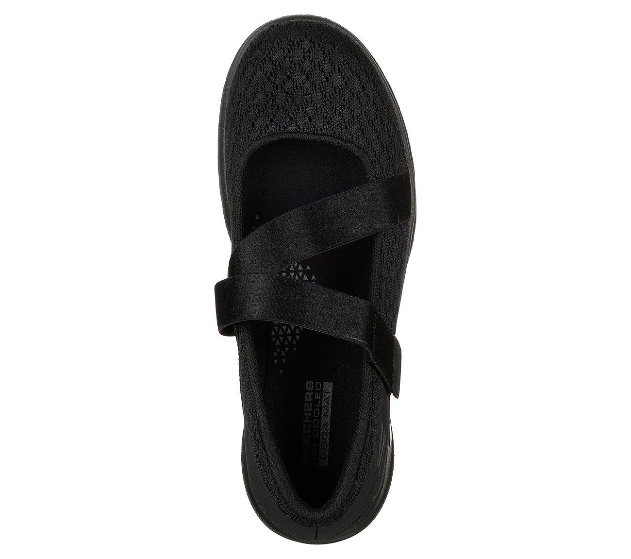 Skechers Go Walk Lite Divine Black Flat Comfort Shoes