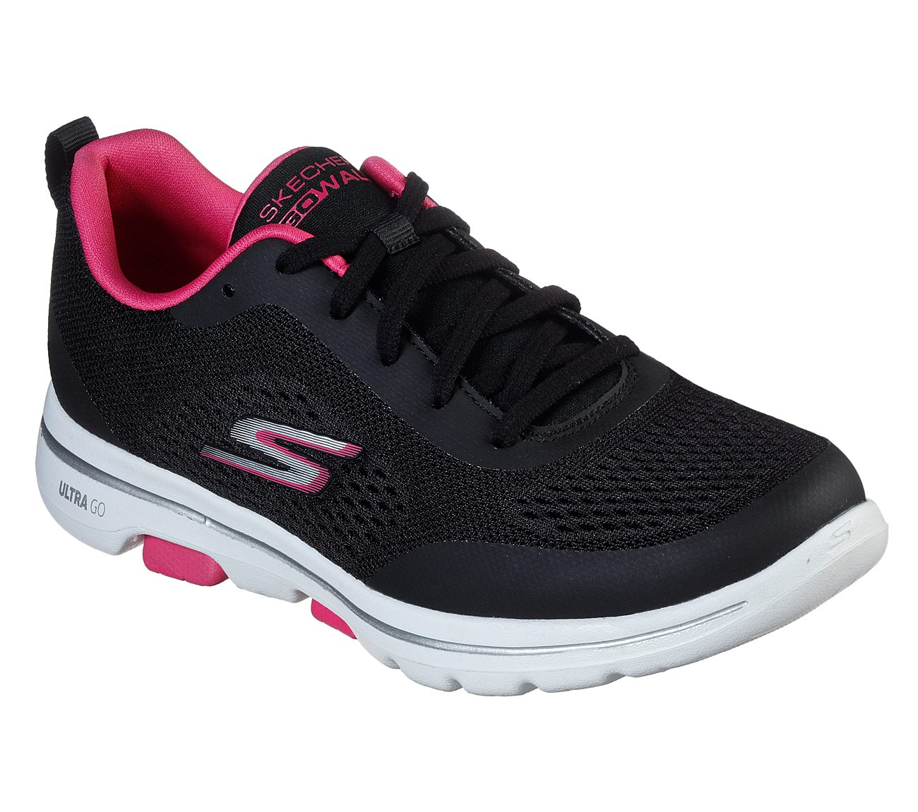ladies pink skechers go walk