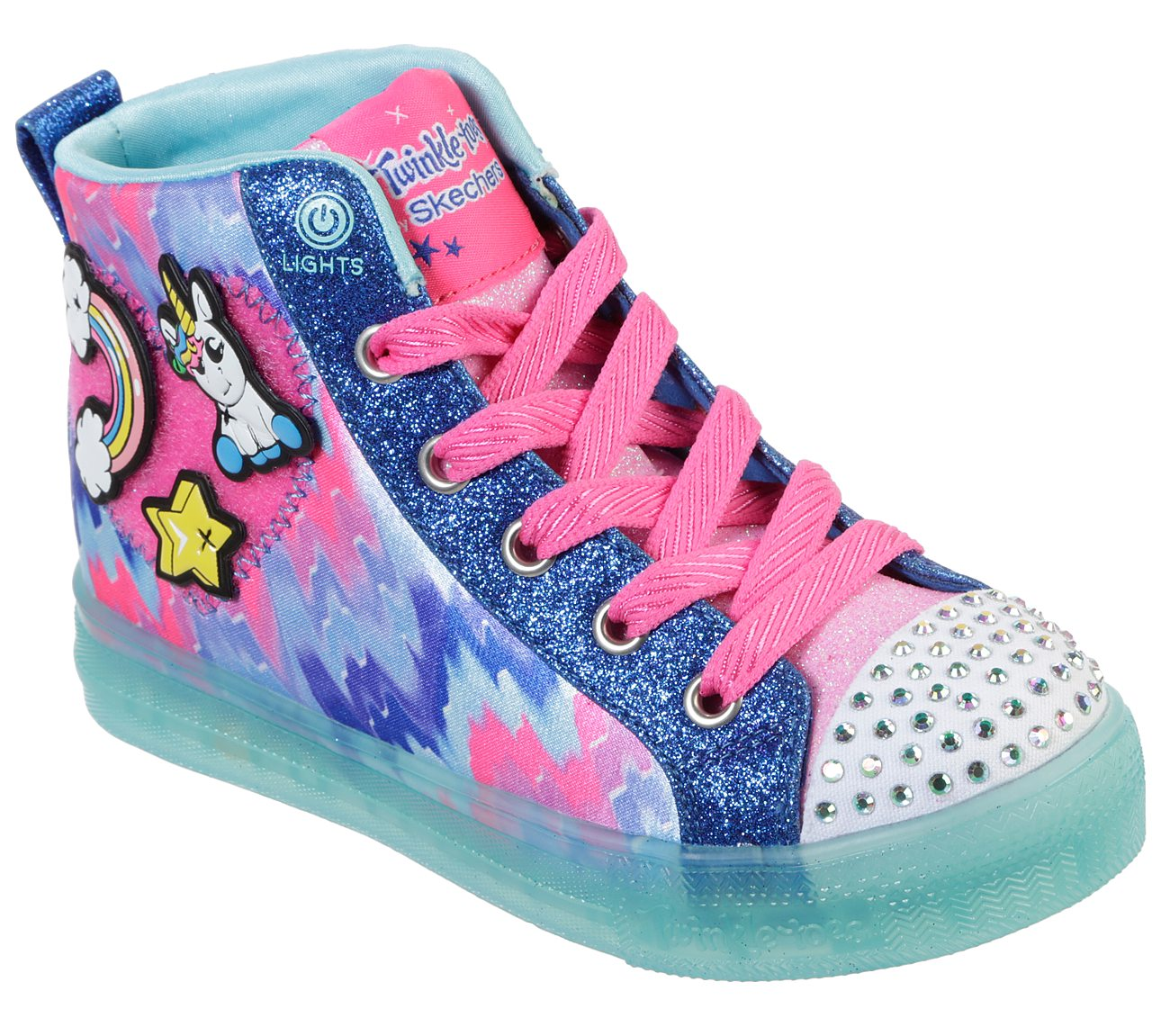 Youth Girl/'s Skechers S Lights Shuffles-Patch Play Sneakers Black//Neon Pink