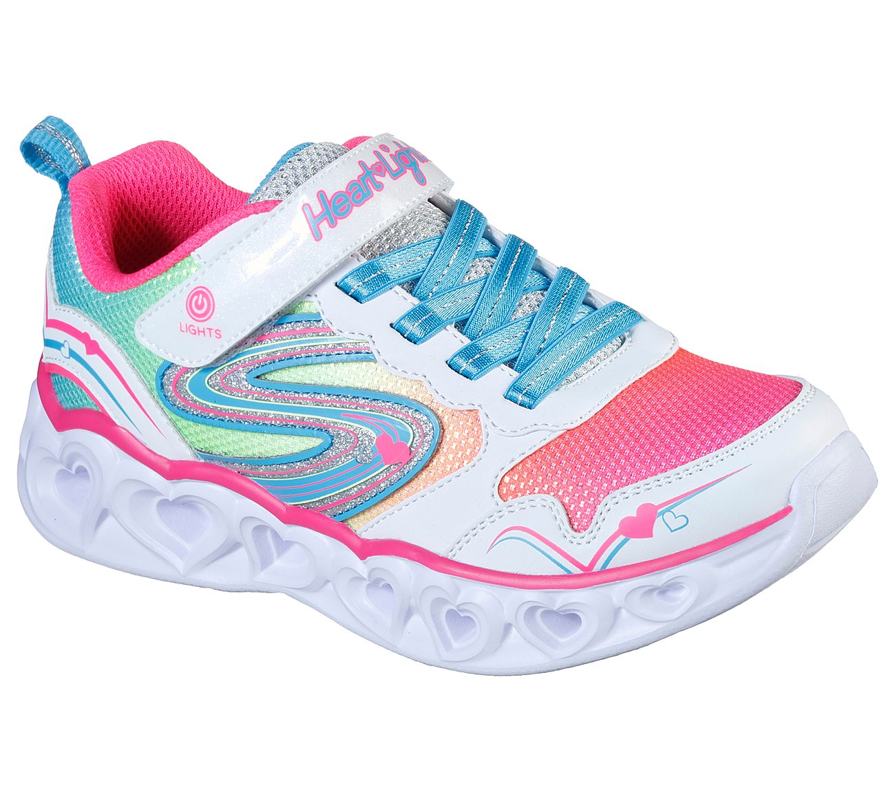 Skechers HEART LIGHTS Girls Casual Light Up Slip-On Trainers Silver Multicolour