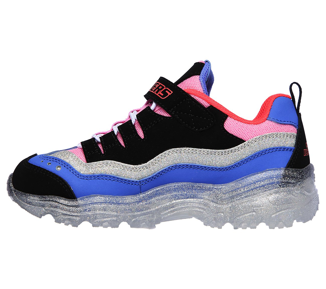 Skechers Girls' S Lights Ice D'Lites Snow Spark Sneaker