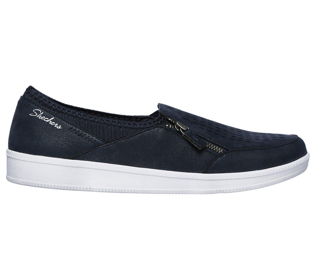 Skechers Womens Street Smart Leather Low Top Zipper Fashion Sneakers