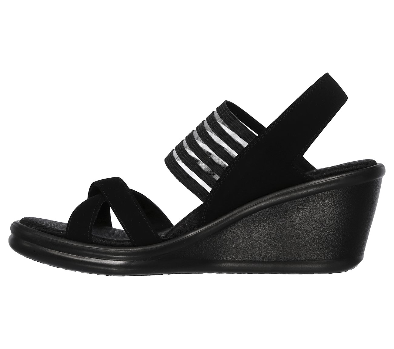 Skechers RUMBLERS SOLAR BURST Ladies Womens Wedge Heeled Sandals Black