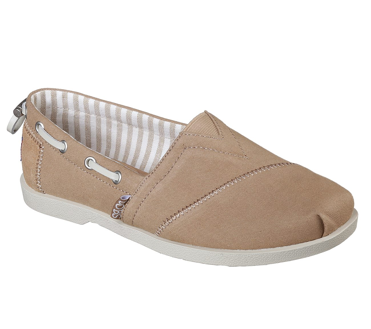 Skechers Bobs Women S Chill Luxe Canvas Slip On Shoe Taupe