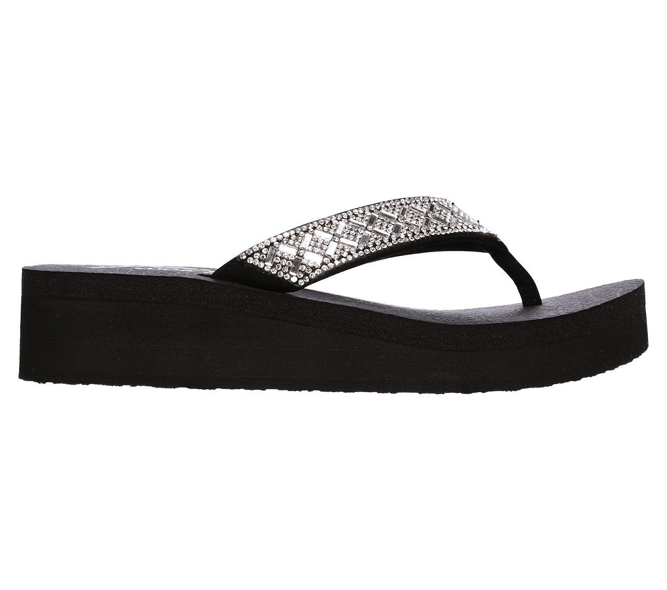 skechers black wedge flip flops