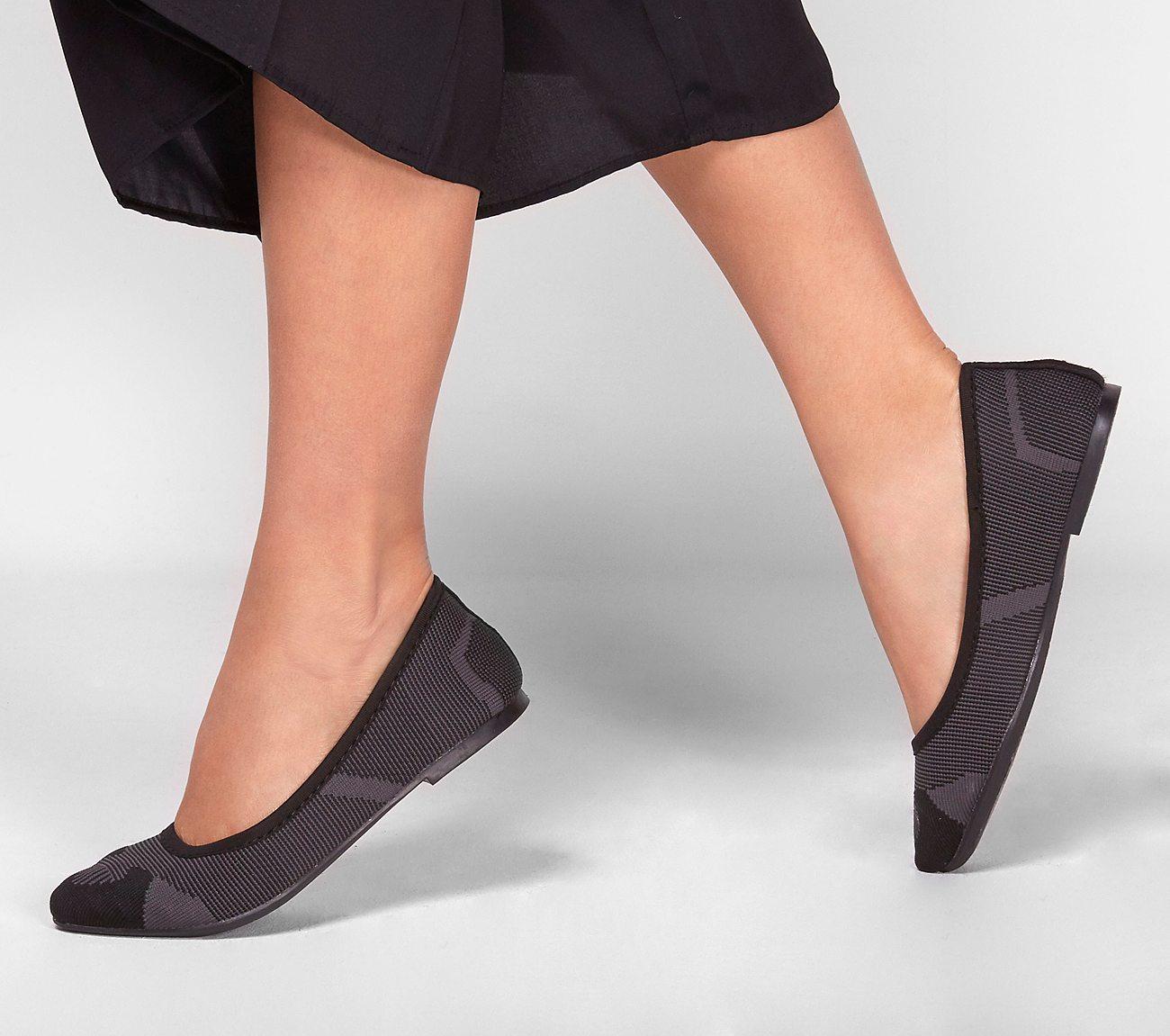 Skechers 48487 BKCC Cleo Wham Black Charcoal Flats Shoes