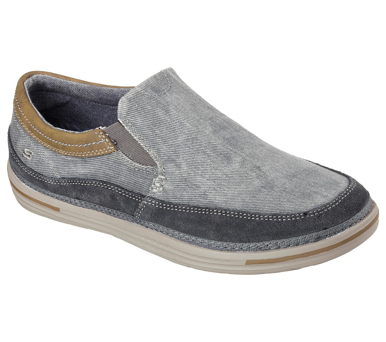 Mens Casual Shoes Skechers Relaxed Fit Steller 64355 Grey Mens Shoes Casual Shoes save 75