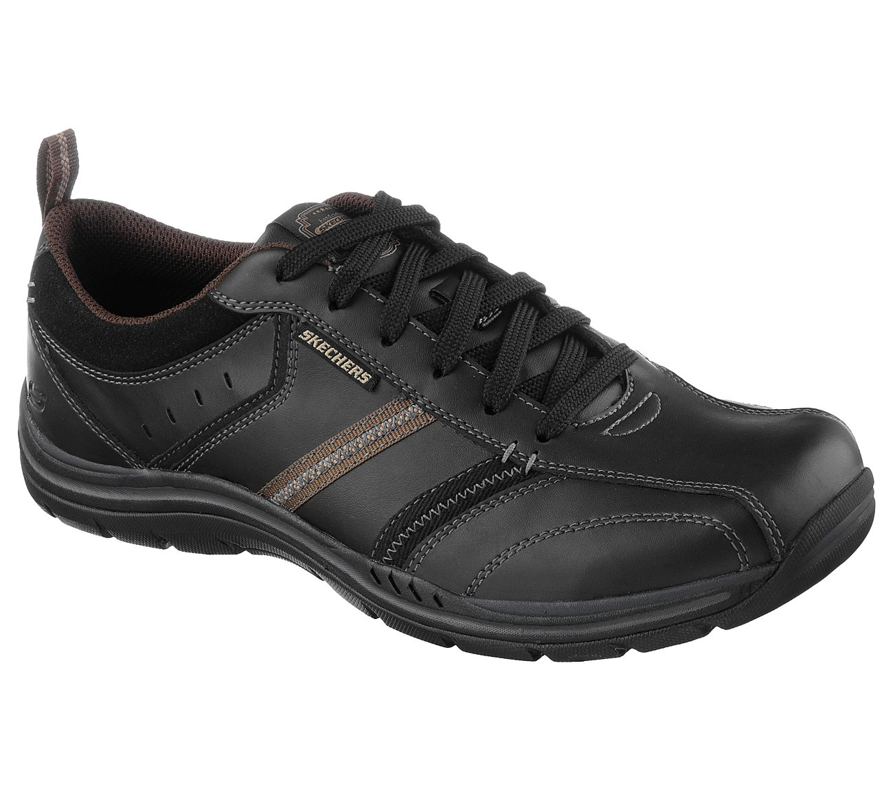 Mens Skechers Expected-Devention Lace Up Relaxed Fit Sneaker Black Leather