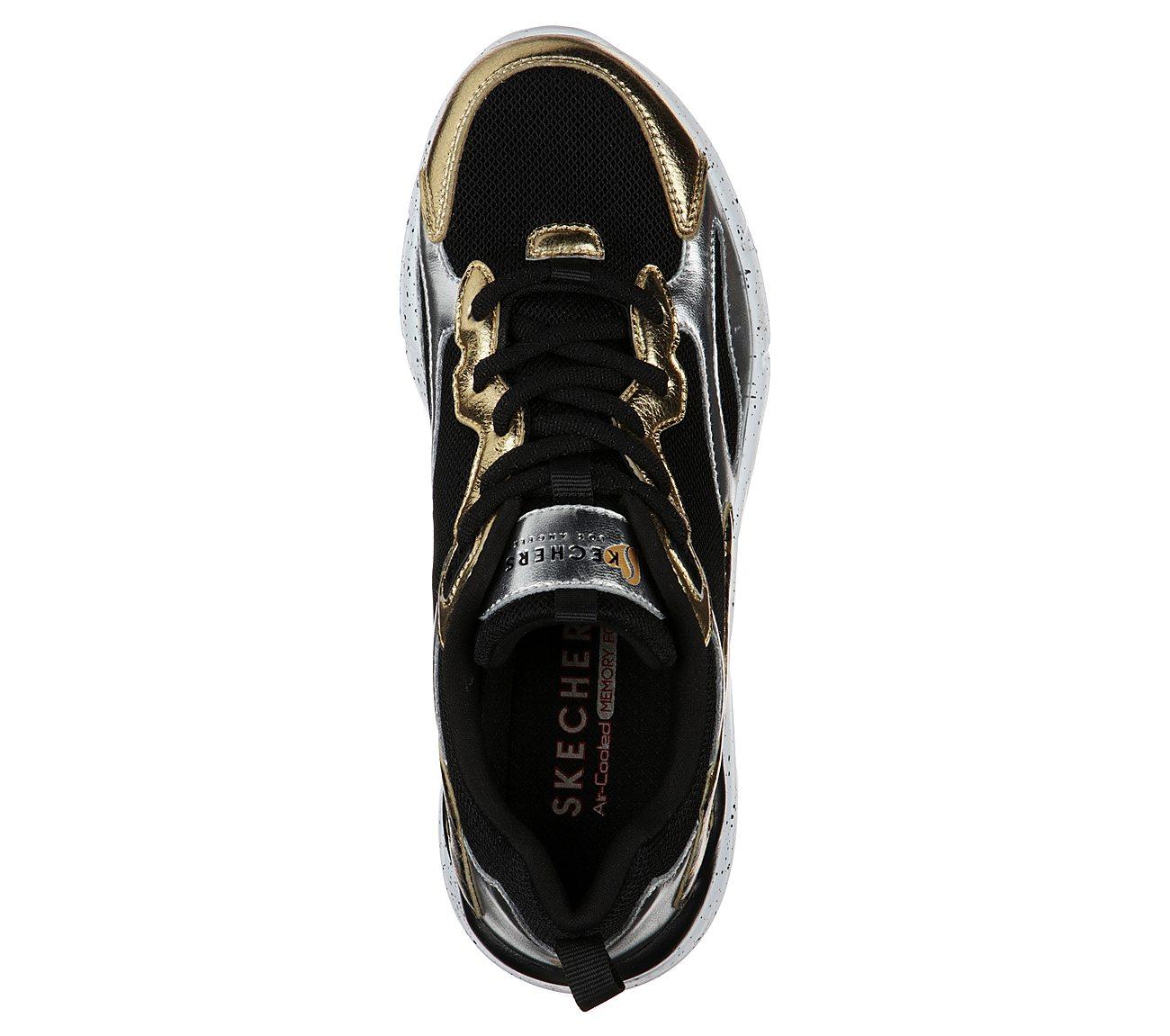 Skechers Women's Skechers Primo Dazzling Duo Sneaker BlackSilverGold Sneakers from shoes   ShapeShop