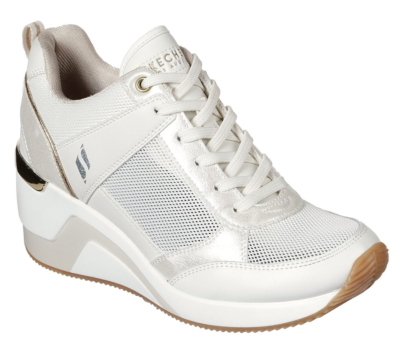 SKECHERS WHITE LEATHER Trainers Casual