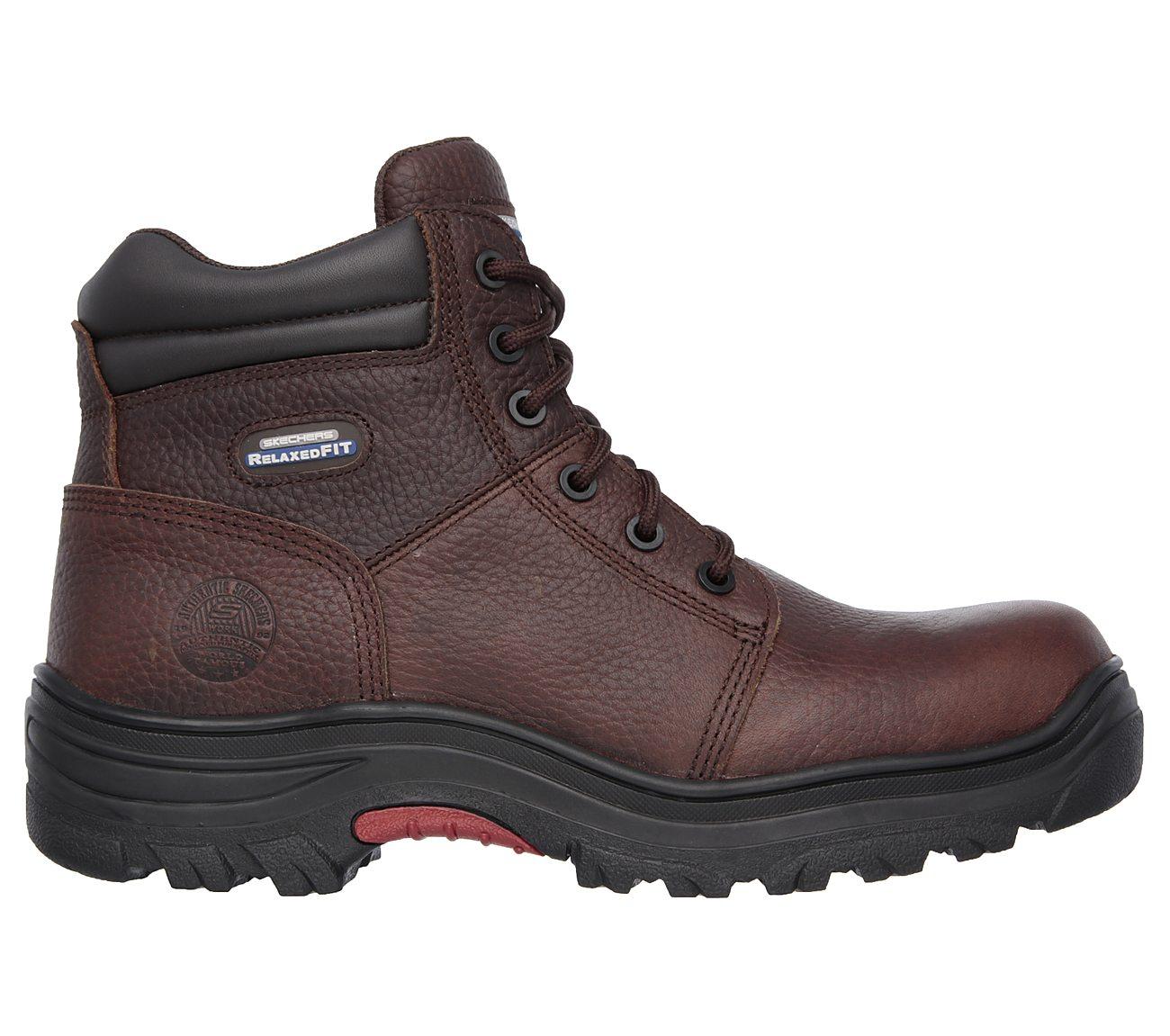 Mens Skechers Burgin Composite Toe Relaxed Fit Memory Foam Work Boot Dark Brown