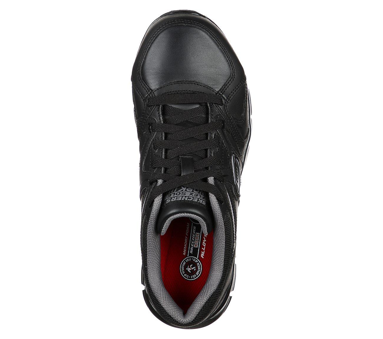 Skechers Skechers 77068bklm Men's Syngergy Ekron Lace Up Slip Resistant Athletic Alloy Toe Black Trubuck with Lime Trim