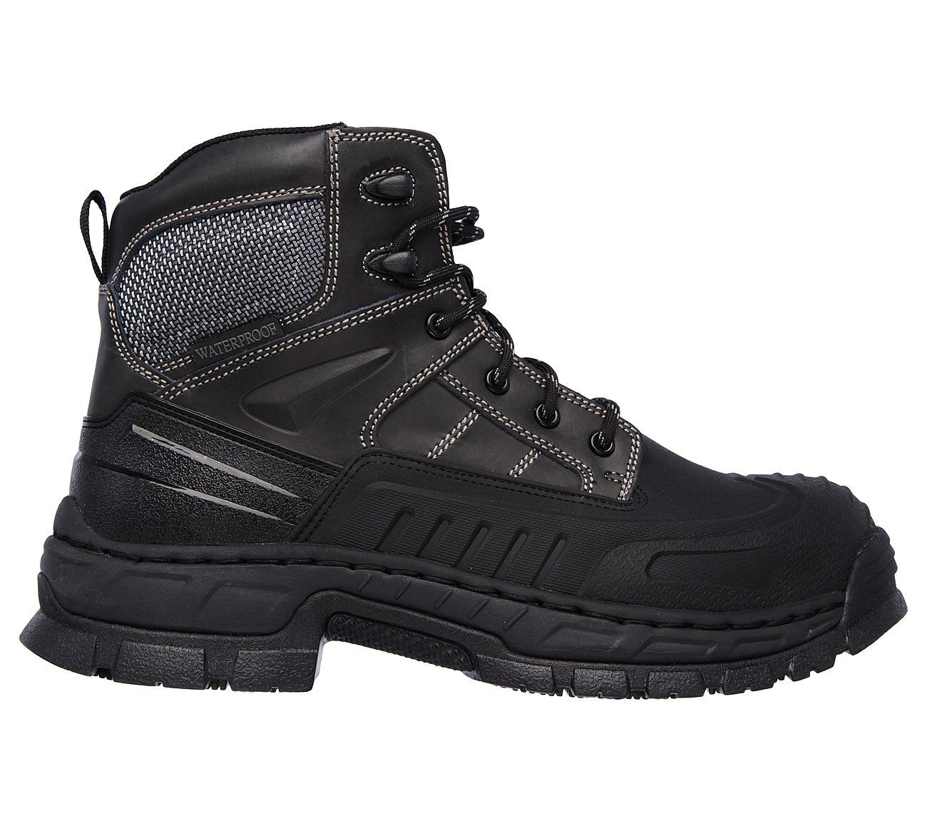 Mens Skechers Vinten Memory Foam Waterproof Steel Toe Lace Up Boot BlackBrown Leather