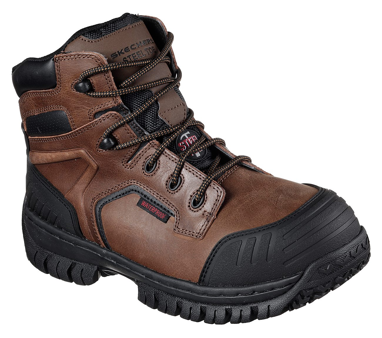 Details about Skechers Delleker Lakehead Steel Toe Work Boot Brown Orange Mens Leather