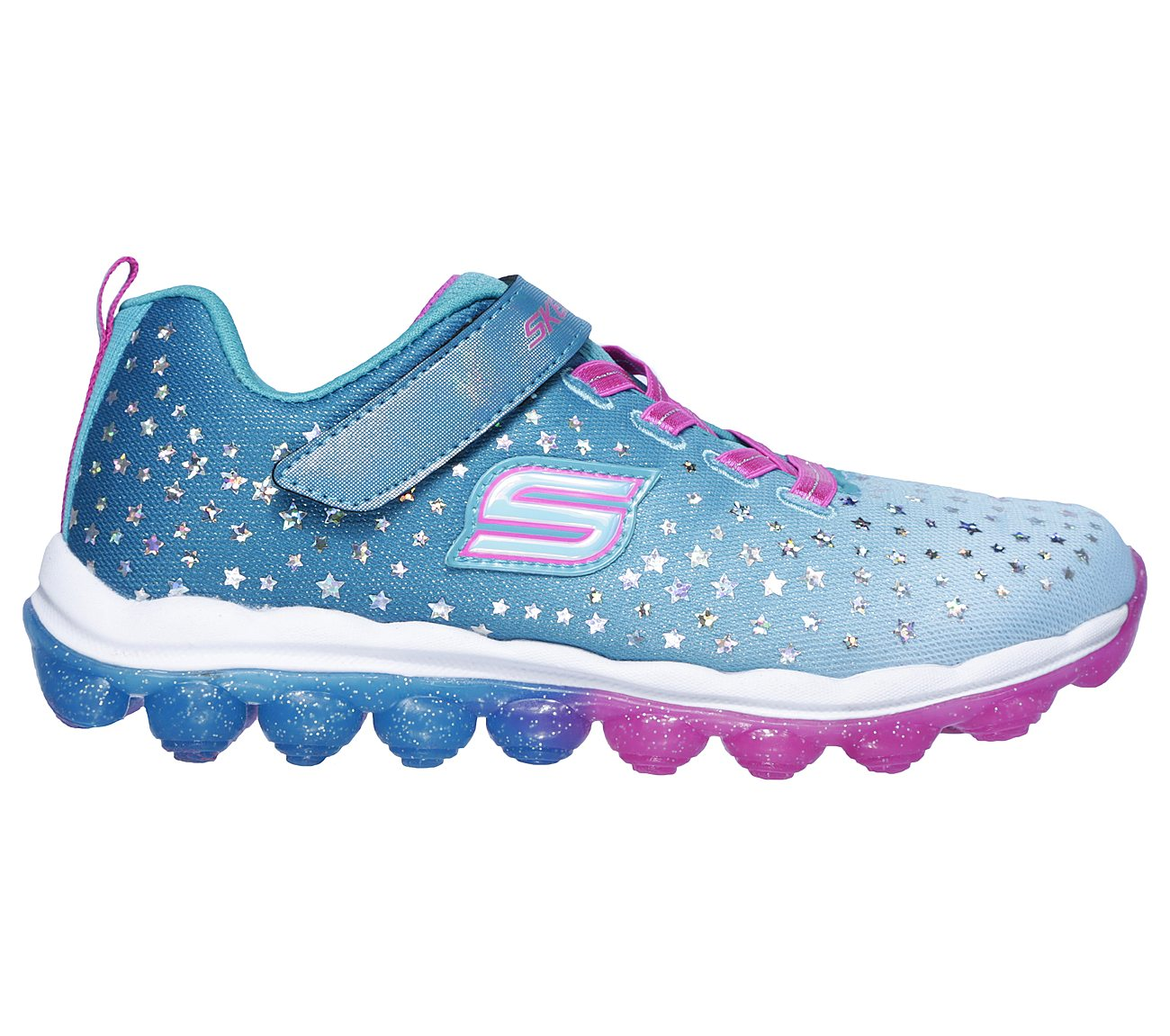 She'll want to leap high as the starry sky wearing the SKECHERS Skech Air Star Jumper shoe. Skech Knit Mesh fabric upper in a slip on athletic