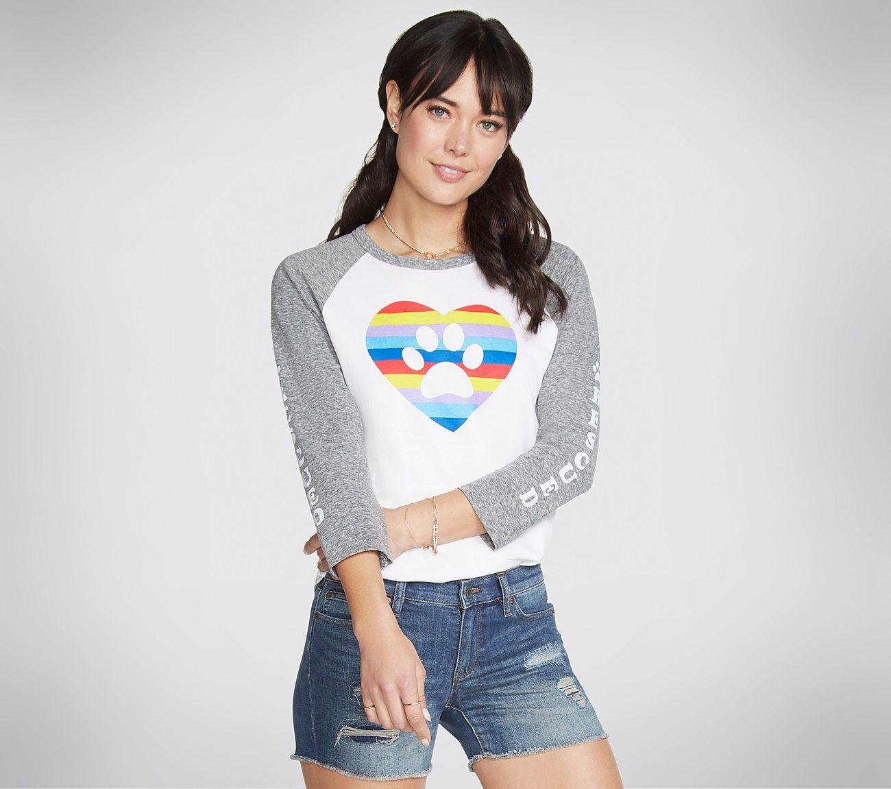 BOBS Rainbow Heart Baseball Tee Shirt