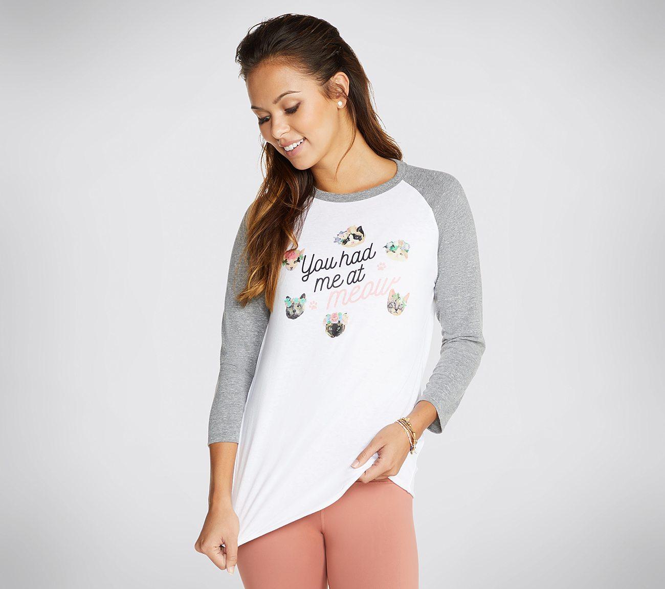 BOBS Flower Meow Baseball Tee Shirt