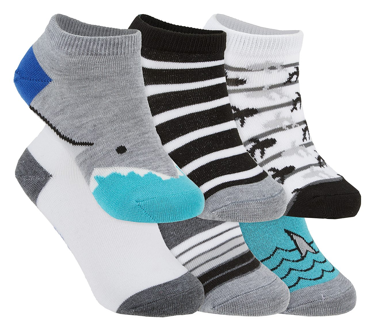 6 Pack Shark Accented Low Cut Socks