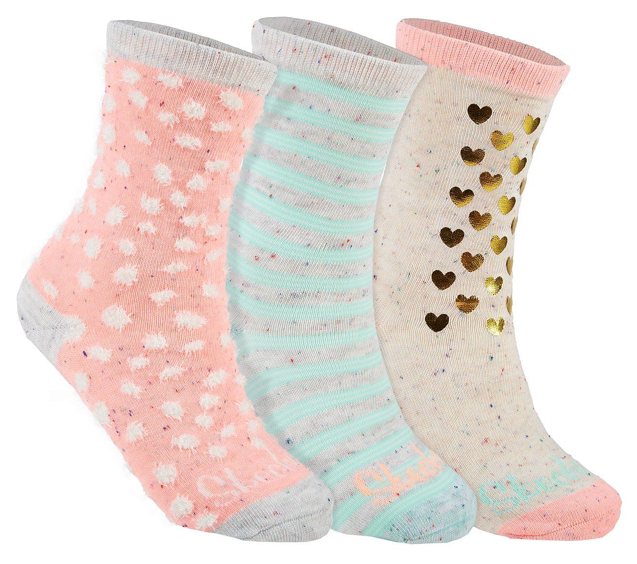 3 Pack Heathered Fashion Crew Socks