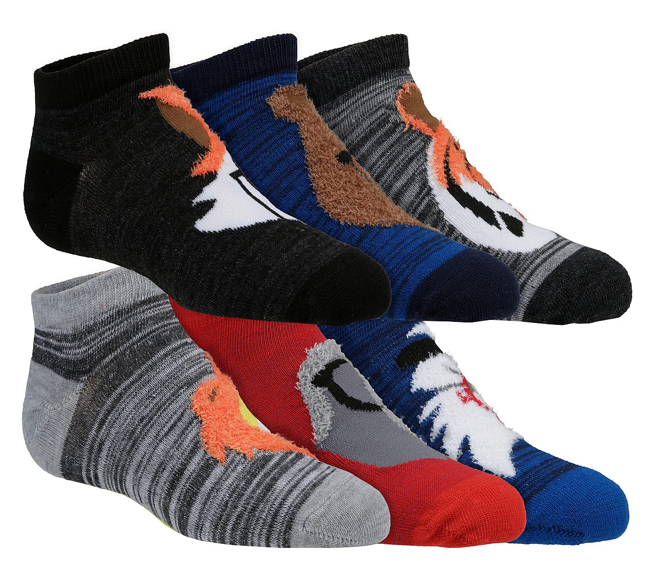 6 Pack Low Cut Fuzzy Character Socks