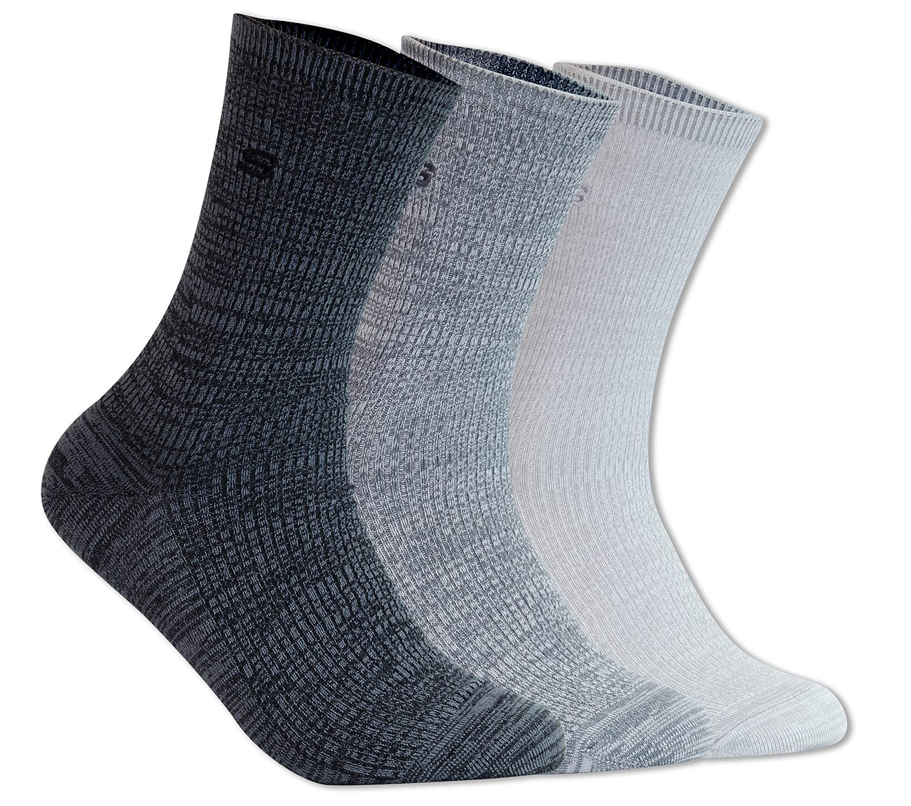 3 Pack Non Terry Crew Socks