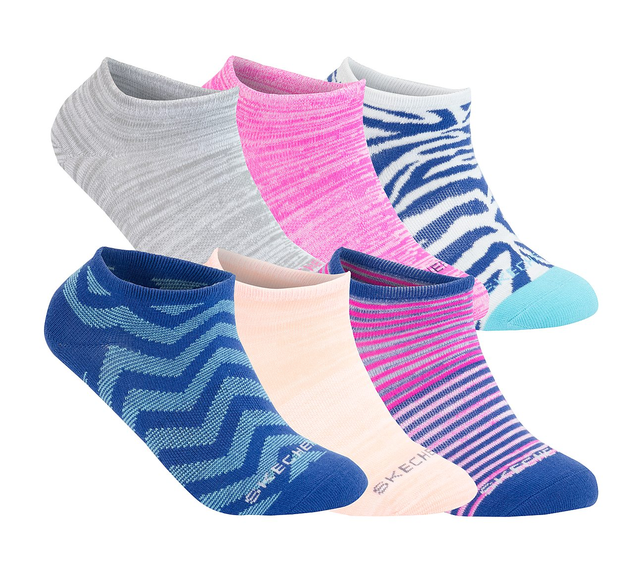 6 Pack Non Terry No Show Stripe Socks