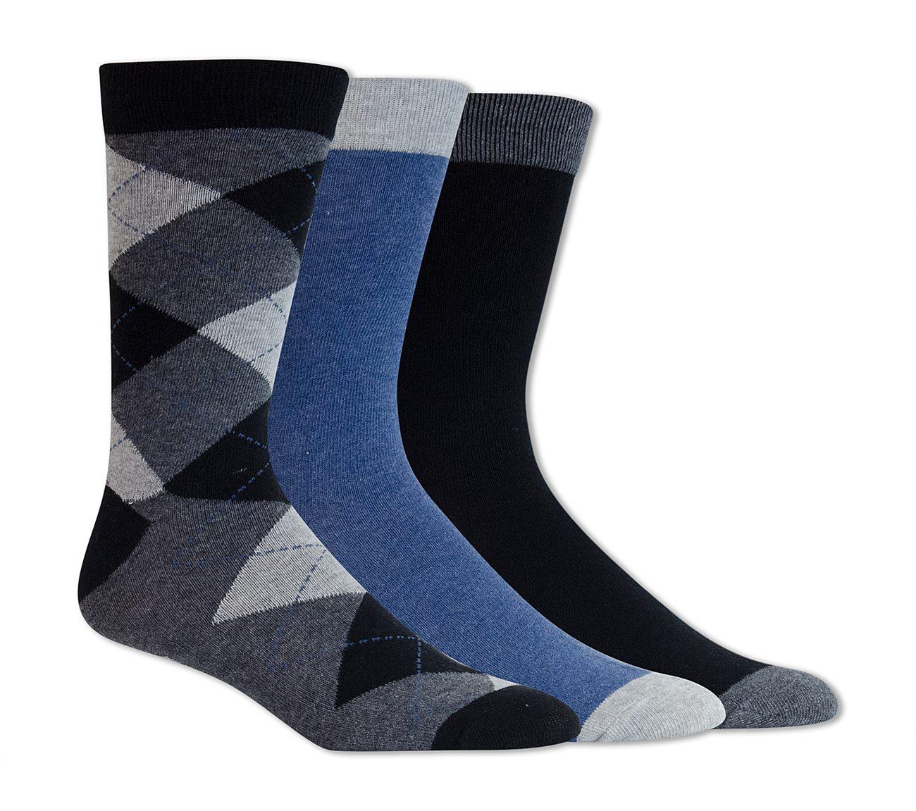 3 Pack Argyle Crew Socks