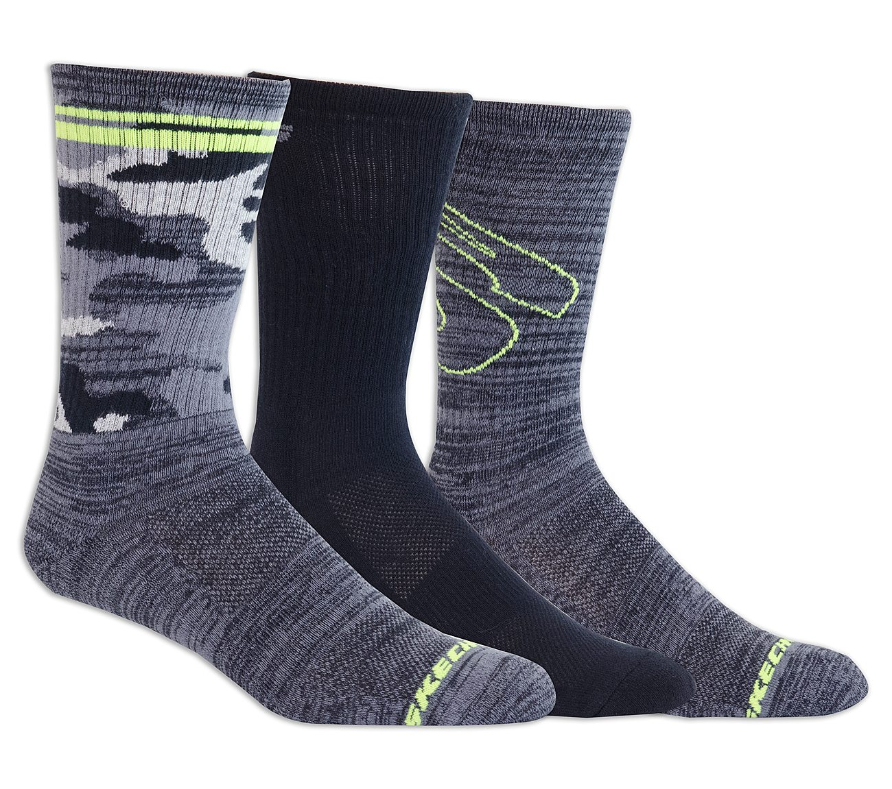 3 Pack Half Terry Print Crew Socks