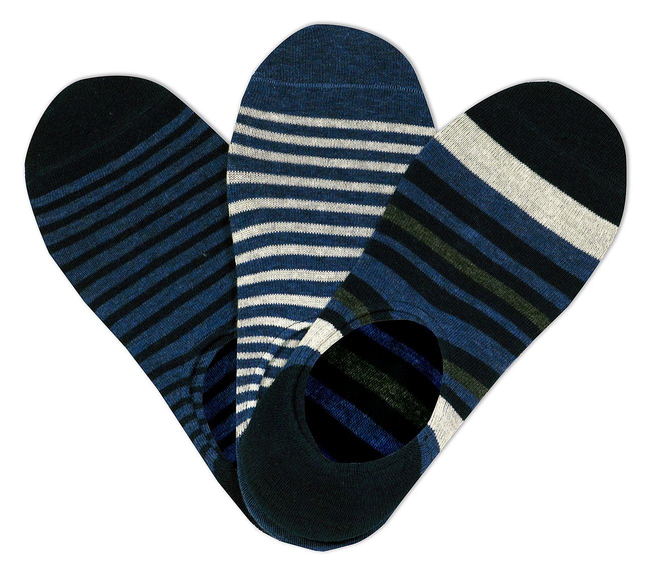 3 Pack No Show Stripe Liner Socks