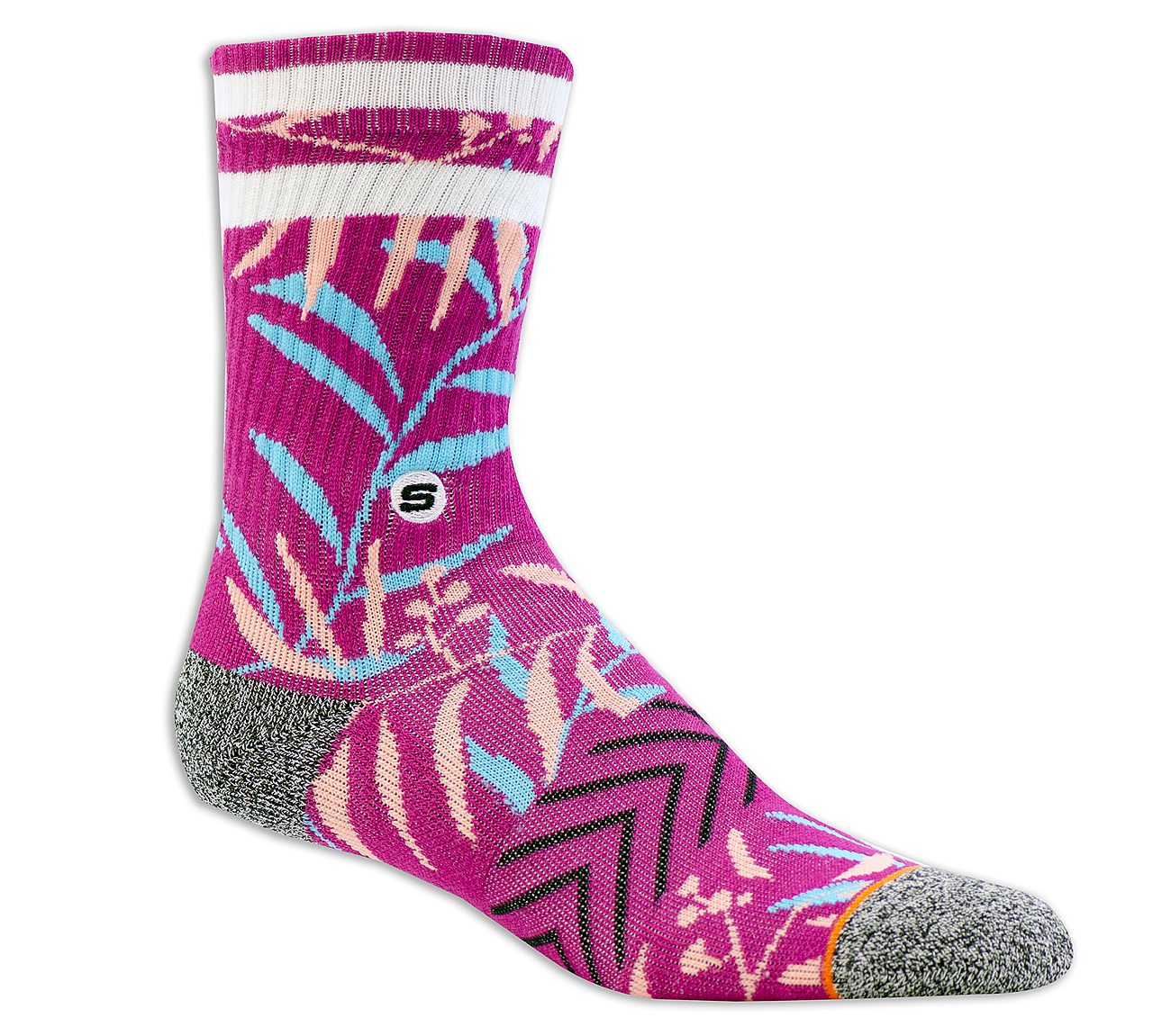 1 Pack Extended Terry Leaves Crew Sock