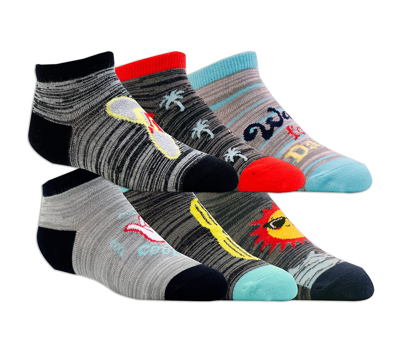 6 Pack Low Cut Beach Stripe Socks
