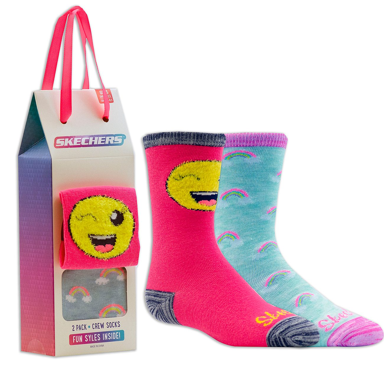 2 Pack Cozy Crew Rainbo-moji Socks