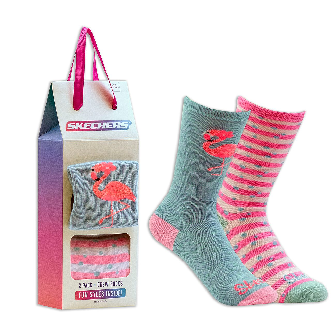 2 Pack Cozy Crew Flamingo Socks