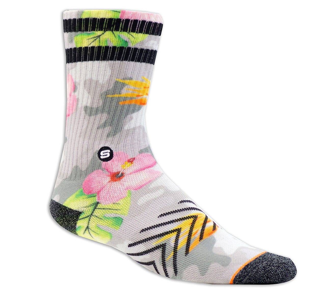 1 Pack Extended Terry Camo Floral Sock