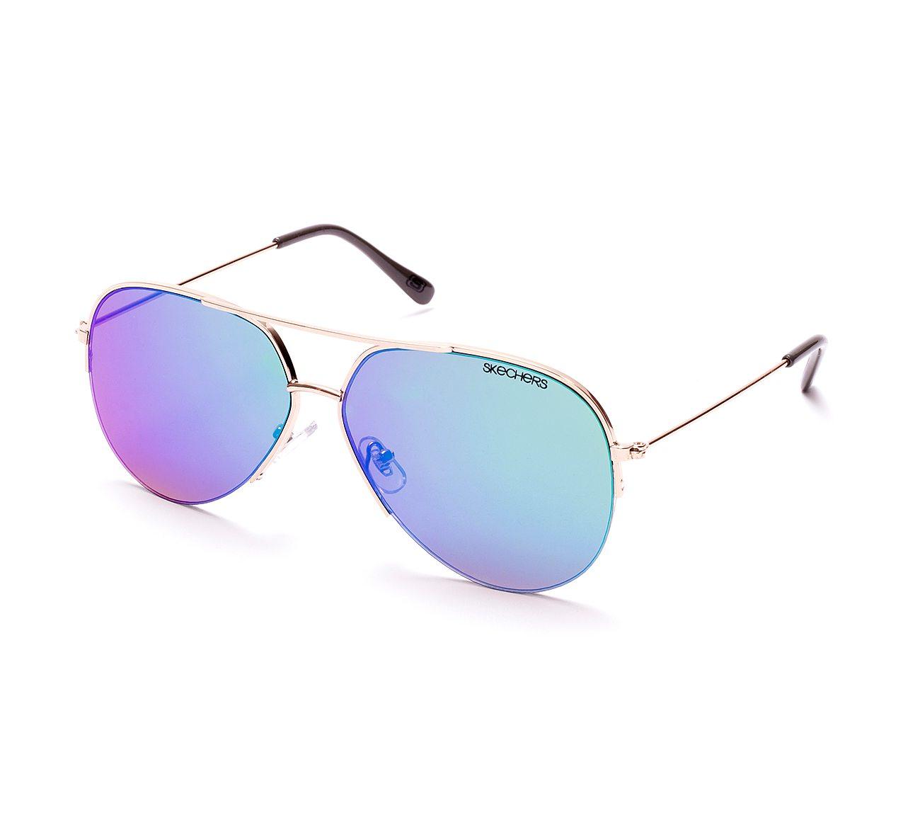 Metal Semi Rimless Aviator Sunglasses